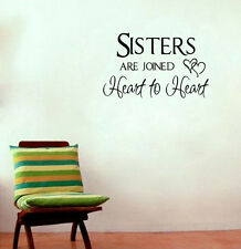 Sisters Are Joined Heart To Heart Wall Sticker Family Removable Quote Decal Home