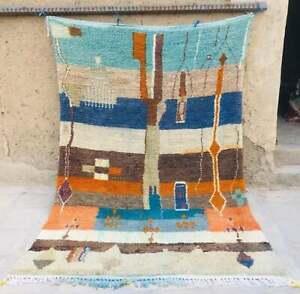 Colorful Rug vintage berber handmade Carpet Boujaad azilal moroccan 7″x10″ ft