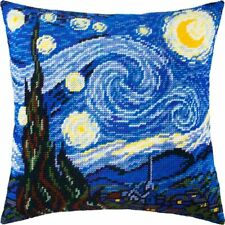 """Needlepoint/Tapestry Pillow Cover Diy Kit """"Starry Night by Vincent van Gogh"""""""