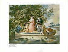 1927 PRINT ~ ANGLING FISHING PARTY IN BOAT LADIES AND GENTLEMEN RODS SERVANT