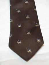 Tie, Polo Ponies, Brown Wideman's Palo Alto CA Italian Silk Hand-Sewn @@!