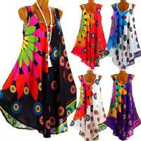Women Sleeveless Loose Dress Vest Tank Top Sundress Swing Irregular Plus Size