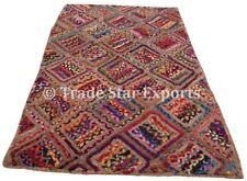 Indian Braided Floor Rug Boho Jute Cotton Rug Handmade Rectangular Floor Mat Art