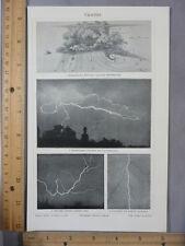 Rare Antique Original VTG Weather Lightning Bolt 4 Images Photogravure Art Print