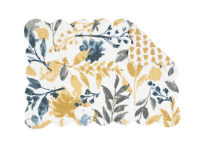 NATURAL HOME Quilted Reversible Placemat by C&F Gray, Gold, Dark Blue, Ivory