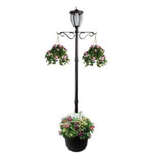 Lamp Post Planter 1-Light Outdoor Solar LED Frosted Glass Lens Aluminum Black