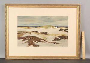 Large BERNARD COREY Cape Cod Massachusetts Sand Dunes Watercolor Painting