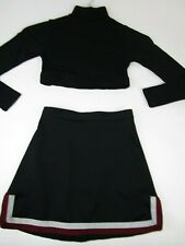Cheerleader Uniform Cheer Outfit Crop Top Skirt Youth M Child Black Maroon