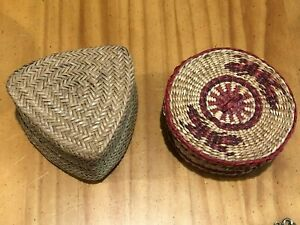 Lot of 2 Vintage Small Straw Woven Baskets w/ Lids GREAT CONDITION