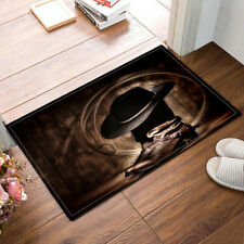 "Cowboy Style 15X23"" Kitchen Bathroom Floor Non-Slip Bath Black Mat Rug Carpet"