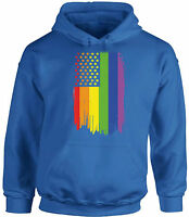 Unisex USA Rainbow Flag Hoodie Hooded Sweatshirts LGBT Pride Flag Rainbow
