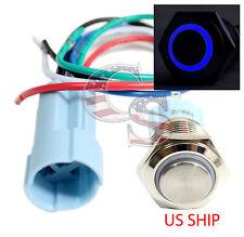 SSH 16mm Blue Angel Eye LED 12V Latching Push Button Power Switch Waterproof