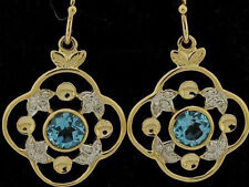 E051- Genuine 9ct SOLID Yellow Gold NATURAL Topaz & Diamond Drop Earrings