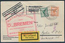 Katapultflug Dampfer Bremen 2.8.1929 Seepost Heinkel Erstflugbrief (S18504)