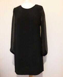 GEORGE Black Tunic Dress Sheer Sleeves Sz 12