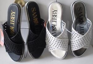 NWT Womens Sam & Libby Jojo Black White Slide Sandals Summer Flats Shoes Sz 7-10