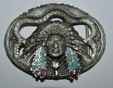 Vintage Reflective Cut Indian Chief See Through Turquoise Coral Belt Buckle Rare