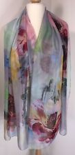 Silk Scarf Pashmina Floral Pinks Greys Oversized Floaty Silky Soft Feel Long NEW