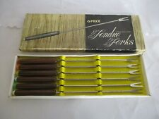 Six Piece Fondue Fork Set, Boxed, Wooden Handles, Vintage, Retro