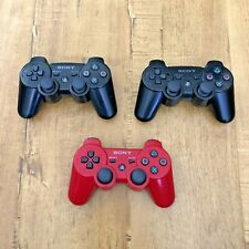 Lot Of 3 Playstation 3 Controllers PS3 Dualshock 3 Wireless Sixaxis Black Red