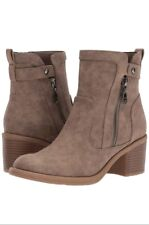 GUESS Women Ankle Boots Slip In Comfort Casual Zipper Brown Bootie