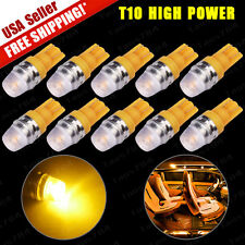 10x Yellow T10 1W LED High Power Wedge Car Dome Map Light Bulb W5W 158 194 2825