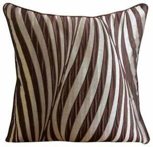 "Brown 22""x22"" Pillow Cover Decorative Jacquard, Striped - Brown Waves"