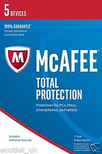 mcafee total protection 2017 5 user/pc internet security windows 10 & mac neu