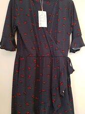 BNWT WAREHOUSE LIPS PRINT WRAP DRESS SIZE 12