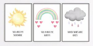 You Are My Sunshine Nursery Prints Set Baby Girl Bedroom Art Pictures Gift Child