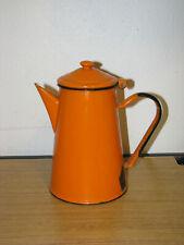 Vintage Orange Black Enamel Enamelware Tea Coffee Pot Hinged Lid Marked Danish