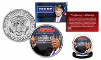 DONALD TRUMP 45th Pres *MAKE AMERICA GREAT AGAIN* Colorized JFK Half Dollar Coin