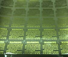 """25 Full Size Football Helmet Warning Labels Decals Gold 20 Mil 1.5"""" By 1"""""""