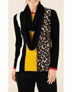 Anna Rose Colour Block Jumper With Scarf  - Ladies Womens - Klass Collection