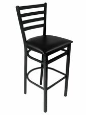 Bfm Seating 2160Bblv-Sb Lima Sand Black Steel Bar Height Chair Black Vinyl Seat