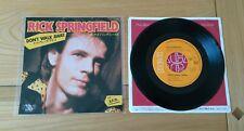 "Rick Springfield Don't Walk Away 1984 Japanese 7"" Single Insert VG/Ex Pop Rock"