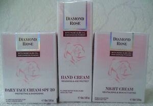 Set: BioFresh, Daily&Night Face and Hand creams with rose oil and diamond powder