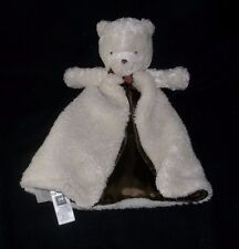 CARTERS WHITE & BROWN BABY TEDDY BEAR RATTLE SECURITY BLANKET STUFFED PLUSH TOY