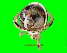 """Finest collector model, 14"""" Tall DAY N NITE Ocean Gemstone Globe W Gold Stand"""