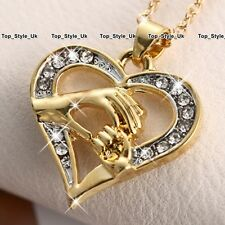 Mother and Daughter Heart Necklace Gifts for Her Mum Crystal Gold Jewellery K1
