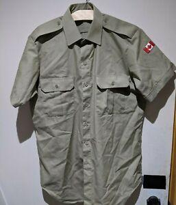 Canadian Tropical Short Sleeve Shirt Sz XL men's 17 with FLAG Tan Colour