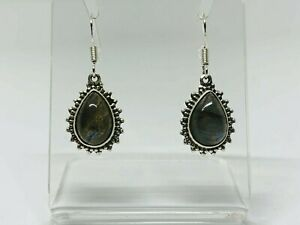 Gorgeous Real Natural Labradorite Stone Drop Earrings 925 Solid Silver #10896