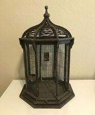 Beautiful Large Antique Victorian Bird Cage Wood With Brass Cups