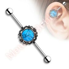 14G 38mm Synthetic Turquoise Industrial Barbell Ear Ring Body Piercing Jewellery