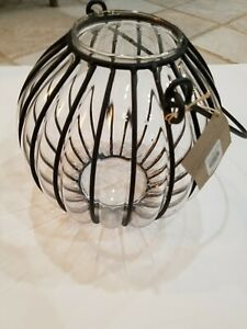 New Pottery Barn Glass And Metal Lantern pumpkin NIB