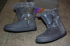 Gray Girls Flurry Sequin Boots Size 9 Nwt