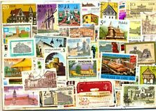 Architecture & Buildings On Stamps - 100 Different Large Thematic Used Stamps