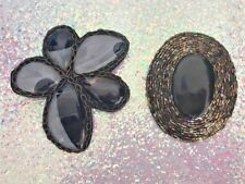 2 ART TO WEAR handmade Bulky PIN's BROOCH Brooches BLACK bead STONES chunky