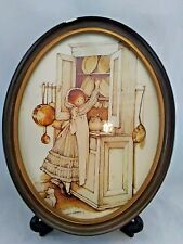 Rare Vintage Holly Hobbie Oval framed print reaching in the cupboard Htf