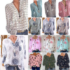 Womens Boho Printed T-Shirt Ladies Loose Tops Fashion Long Sleeve Casual Blouse